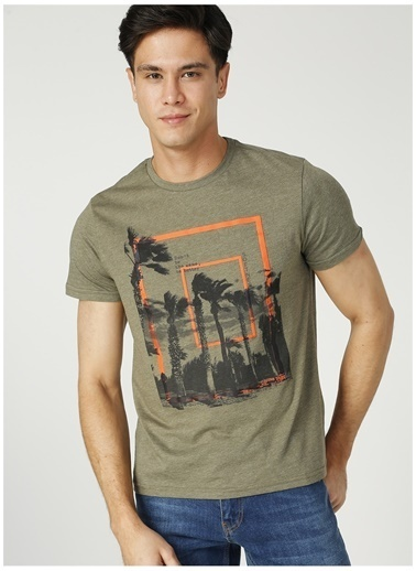 Fabrika Fabrika O Yaka Haki Melanj T-Shirt Haki